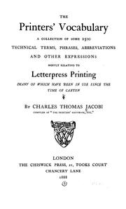 Cover of: The printers' vocabulary by Charles Thomas Jacobi