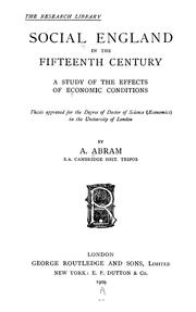 Cover of: Social England in the fifteenth century by A. Abram