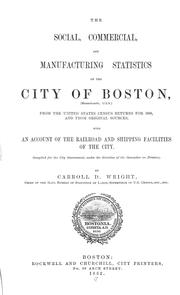 Cover of: The social, commercial, and manufacturing statistics of the City of Boston, from the United States census returns for 1880, and from original sources, with an account of the railroad and shipping facilities of the city by Carroll Davidson Wright