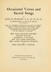Cover of: Occasional verses and sacred songs | John Bradley Peaslee