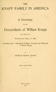 Cover of: The Knapp family in America | Arthur Mason Knapp