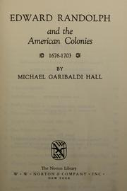 Edward Randolph and the American Colonies, 1676-1703