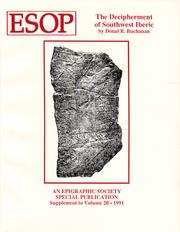 Cover of: The decipherment of southwest Iberic | Donal B. Buchanan