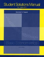 Cover of: Student Solutions Manual t/a Basic Econometrics by GUJARATI