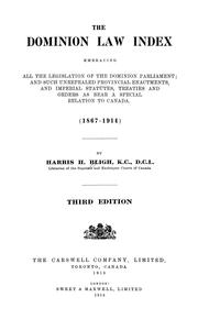 Cover of: The Dominion law index | Harris H. Bligh