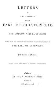 Cover of: Letters of Philip Dormer, fourth earl of Chesterfield, to his godson and successor | Philip Dormer Stanhope, 4th Earl of Chesterfield