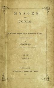 Cover of: Mysore and Coorg | B. Lewis Rice