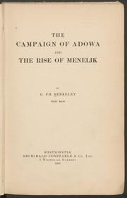 Cover of: The campaign of Adowa and the rise of Menelik by G. F.-H Berkeley