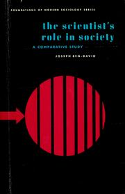 Cover of: The scientist's role in society | Joseph Ben-David