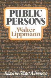 Cover of: Public persons | Walter Lippmann