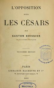 Cover of: L'opposition sous les Césars | Boissier, Gaston