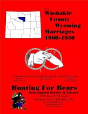 Cover of: Washakie Co Wyoming Marriages 1900-1930 by Nicholas Russell Murray, David Alan Murray