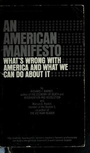 Cover of: An American manifesto | Richard J. Barnet