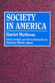 Cover of: Society in America by Martineau, Harriet