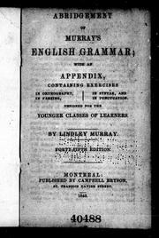 Cover of: Abridgment of Murray's English grammar | Lindley Murray