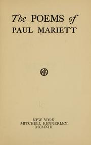 Cover of: The poems of Paul Mariett | Paul Mariett