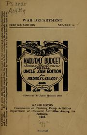 Cover of: Madison's budget by James Madison