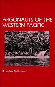 Cover of: Argonauts of the western Pacific by Bronisław Malinowski