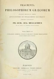 Cover of: Fragmenta philosophorum graecorum by Friedrich Wilhelm August Mullach
