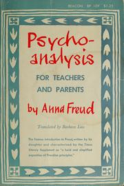 Cover of: Psycho-analysis for teachers and parents | Anna Freud