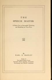Cover of: The speech master | Earl Gilbert Hadley