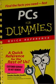 Cover of: PCs for dummies quick reference | Dan Gookin