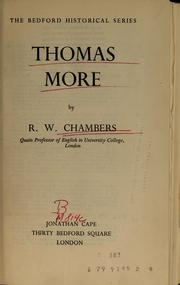 Cover of: Thomas More | R. W. Chambers