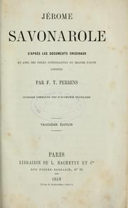 Cover of: Jérome Savonarole | François Tommy Perrens