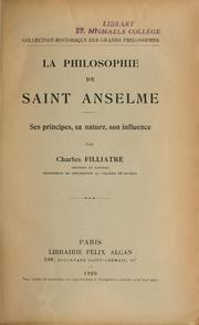 Cover of: La philosophie de saint Anselme | Charles Filliatre