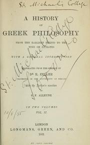 Cover of: A history of Greek philosophy from the earliest period to the time of Socrates | Eduard Zeller