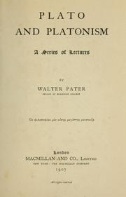 Cover of: Plato and Platonism | Walter Pater