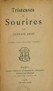 Cover of: Tristesses et sourires | Gustave Droz