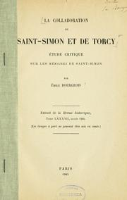 Cover of: La collaboration de Saint-Simon et de Torcy | Emile Bourgeois