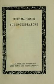 Cover of: Totengespraeche | Mauthner, Fritz