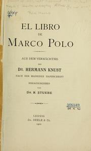 Cover of: El libro de Marco Polo by Marco Polo