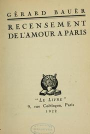 Recensement de l'amour ǎ Paris...