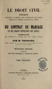 Du Contrat De Mariage Et Des Droits Respectifs Des Epoux Open Library