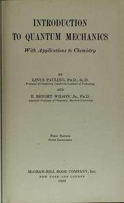 Cover of: Introduction to quantum mechanics | Linus Pauling