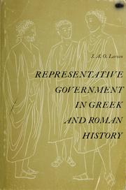 Cover of: Representative government in Greek and Roman history by Jakob Aall Ottesen Larsen