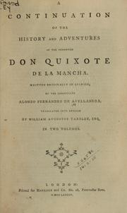 Cover of: A continuation of the history and adventures of the renowned Don Quixote de la Mancha | Alonso Fernández de Avellaneda