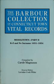 Cover of: The Barbour collection of Connecticut town vital records |