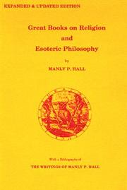 Cover of: Great books on religion and esoteric philosophy | Manly Palmer Hall