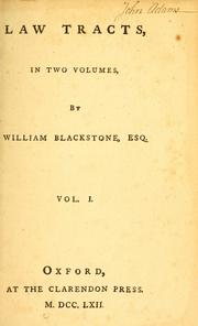 Cover of: Law tracts | Sir William Blackstone
