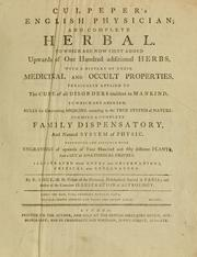 Cover of: Culpepper's English physician ; and complete herbal by Nicholas Culpeper
