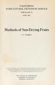 Cover of: Methods of sun-drying fruits | Paul Frothingham Nichols