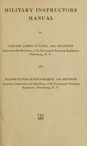 Cover of: Military instructors manual | J. P. Cole