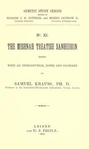 Cover of: The Mishnah treatise Sanhedrin |