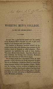 Cover of: The Working Men's College, 31, Red Lion Square, London | Frederick Denison Maurice