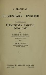 Cover of: A manual in elementary English |