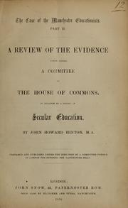 Cover of: The case of the Manchester educationists by Hinton, John Howard